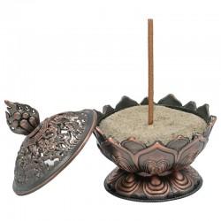 Incense burner lotus copper color