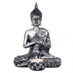 Buddha with candle holder - silver color